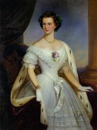 porträt kaiserin elisabeth von österreich im alter von 16 jahren mit efeukranz im haar by friedrich krepp
