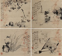 指画花卉小品 (4 works) by liu xiling