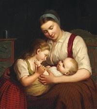 moderen har paa skjødet det mindste barn, som kjærtegnes af det større by johann julius exner
