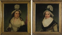 portrait of frances hortin (+ portrait of sister; pair) by james earl