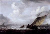 marine mit fischerbooten auf bewegter see by arnoldus van anthonissen