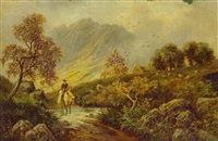 a scotsman returning home in a highland landscape by albert dunnington