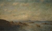 vue côtière animée de pêcheurs by victor de papelen (papeleu)
