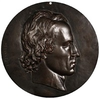 portrait of alfred lord tennyson, head profile by thomas woolner