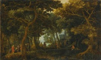 forest landscape with two of christ's miracles by david vinckboons