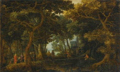 forest landscape with two of christs miracles by david vinckboons