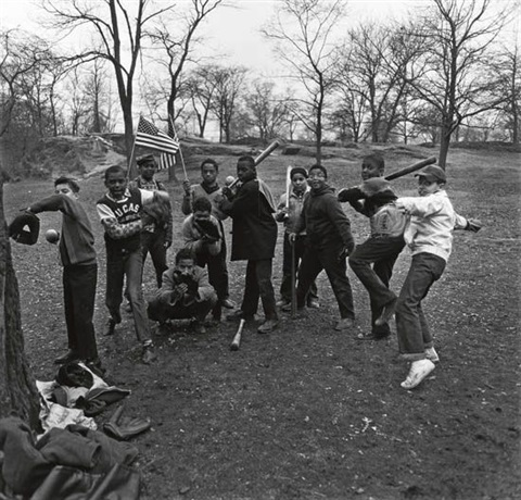 baseball game in central park nyc by diane arbus