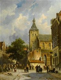a street scene in hattem by adrianus eversen