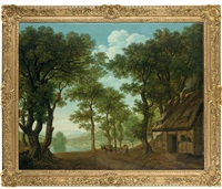 a wooded river landscape with a traveler and his mule by a cottage by george smith of chichester