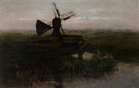 a windmill in a polder landscape by jacob ritsema