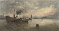 unloading cargo in a harbour by ioannis (jean h.) altamura