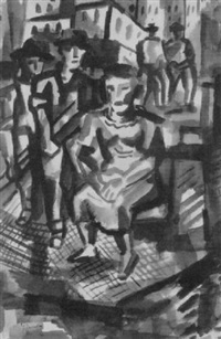 seated woman with figures, new york by irving g. lehman