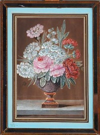 two still lifes with flowers (pair) by christoph ludwig agricola