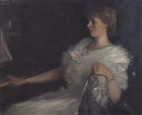 portrait of a lady seated at a piano, catherine fountain, daughter of lady sutherland (?) by david alison