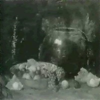 still life of fruit, brass bowl and samovar by henry r. rittenberg