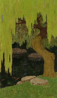 a willow tree by a goldfish pond by benvenuto benvenuti