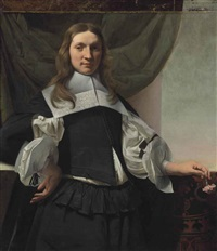 portrait of young man, three-quarter length, holding a carnation by cesar boetius van everdingen