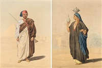 guerrier egyptien (+ egyptienne à l'urne; pair) by louis emile pinel de grandchamp