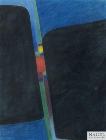 komposition in blau und schwarz by max ackermann