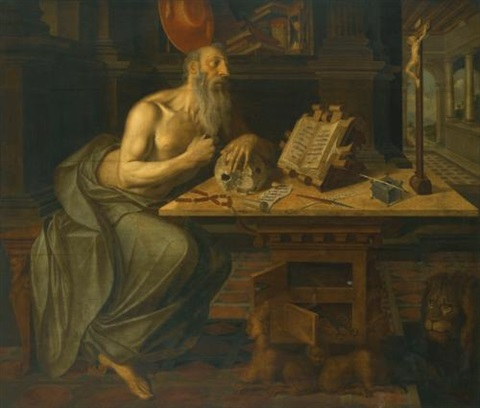 saint jerome in his study by flemish school antwerp 16