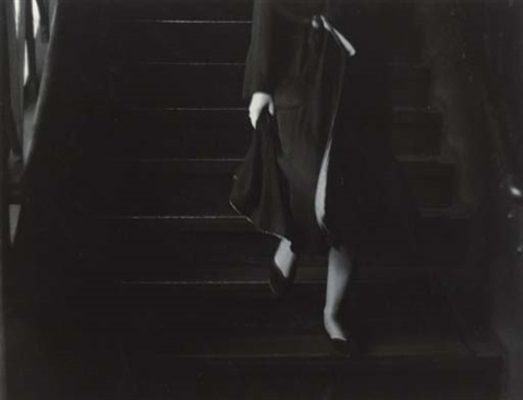 woman descending stairs by roy decarava
