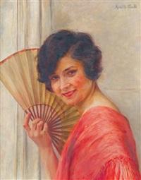 portrait de jeune femme à l'éventail by achille (georges) fould
