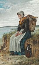 a fisherman's daughter resting near the sea with a heavy basket on her back by maria (philips-weber) weber