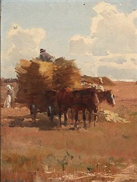 harvest scene by frants peter didrik henningsen