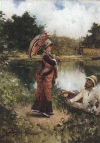 dimanche, au bord de la rivière by jean-baptiste raguet