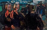 soir sur la place, loctudy (trois bretonnes) by maurice denis