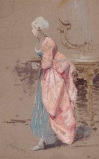 stehende dame in rokoko-kleidung by salvatore postiglione