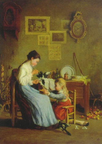 mother and daughter tending to their pet bird by jean paul haag