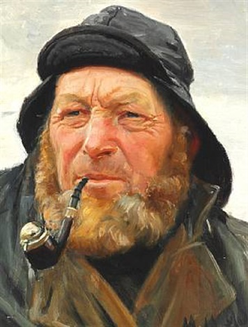 the fisherman ole svendsen from skagen with souwester smoking his pipe by michael peter ancher