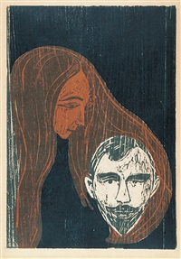 männerkopf in frauenhaar by edvard munch
