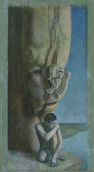 male nude and anthropomorphic rock by jared french
