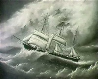 the three masted barque naiad by c. kensington