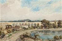 paysage au viaduc by jules (joseph augustin) laurens