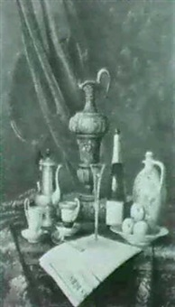 still life of a coffee pot andcoffee cups, a ewer, book and champagne bottle with a plate of apples and a newspaper on a by moriz mannfeld