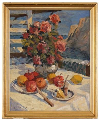 nature morte aux fleurs et fruits sur un fond de paysage by konstantin alexeievitch korovin