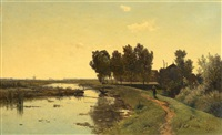 walking along a dutch canal by paul joseph constantin gabriël