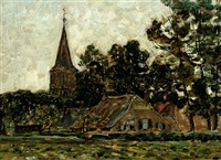 view of the church of gorsel by jan adam zandleven