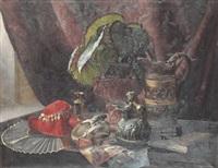 stilleben med röd hatt by johan elis kortman