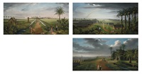 three panoramas of a sugar plantation, demerara by joshua, r.a. bryant