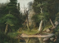 indians in a wooded landscape by hiram dwight torrey