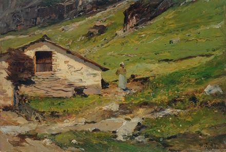 cascinale in montagna by lorenzo delleani