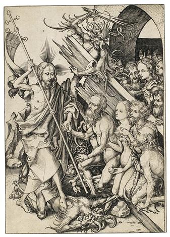 die höllenfahrt christus in der vorhölle pl 11 from die passion by martin schongauer
