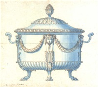 design for a silver tureen by andrea tagliatico