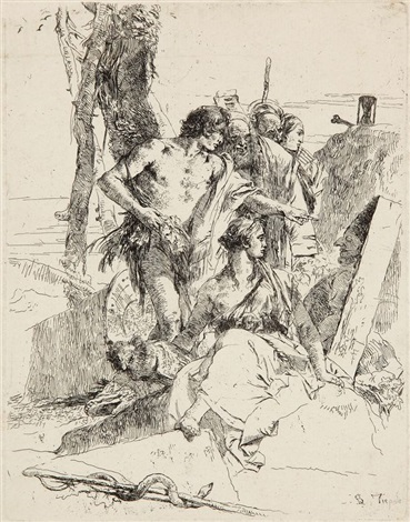 la découverte du tombeau de polichinelle pl17 from scherzi by giovanni battista tiepolo