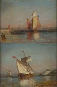 gondoles sur fond de venise (2 works) by paul charles e. gaillard lepinay