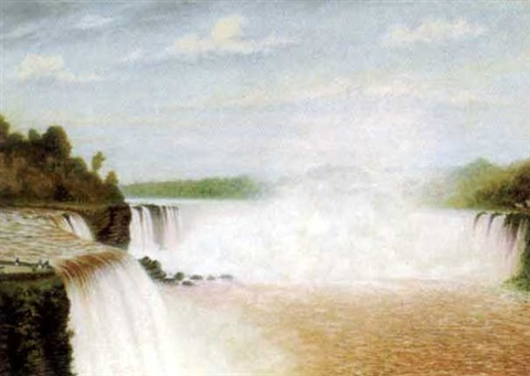 niagara falls from the canadian side with figures viewing from the cliffs by william h kay